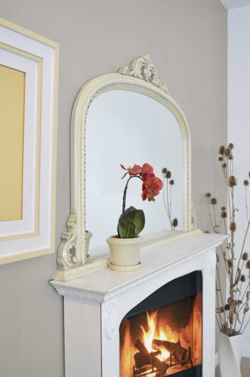 Loxton 127x91cm Ivory Large Overmantle Mirror