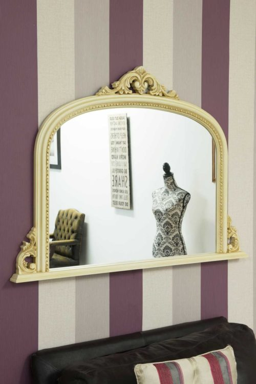 Loxton 127x91cm Cream Large Overmantle Mirror