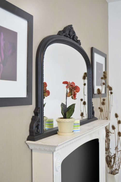 Loxton 127x91cm Black Large Overmantle Mirror