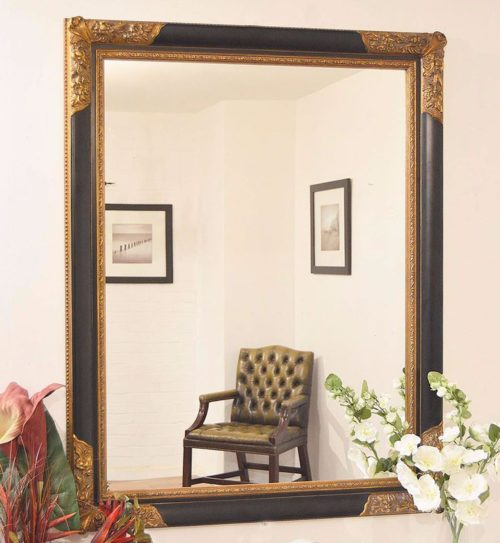 Bathford 142x112cm Black Large Wall Mirror