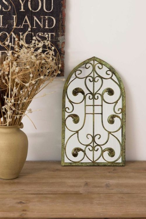 Brockley 40x24cm Brown Garden Mirror