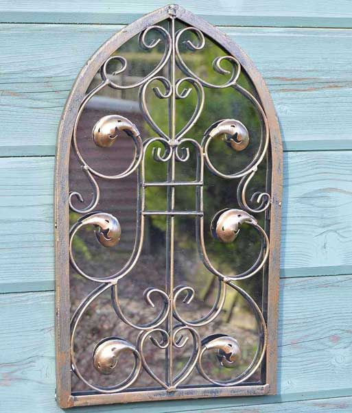 Brockley 40x24cm Brown Garden Mirror