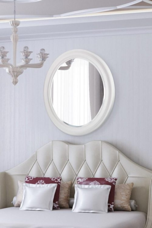 Holcombe 96x96cm White Round Mirror