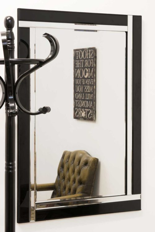 Clevedon 90x60cm Black Wall Mirror