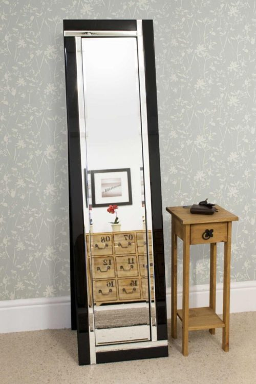 Clevedon 150x40cm Black Large Free Standing Mirror