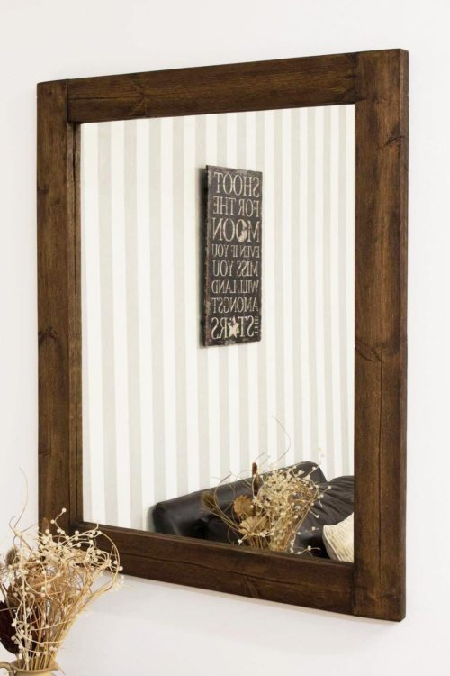 Sandford 118x92cm Dark Natural Wood Mirror
