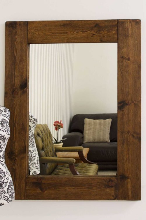 Sandford 122x91cm Dark Natural Wood Large Mirror