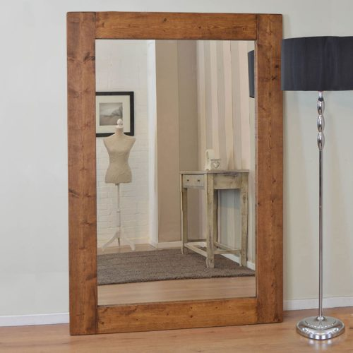 Sandford 178x117cm Dark Natural Wood Extra Large Leaner Wood Mirror