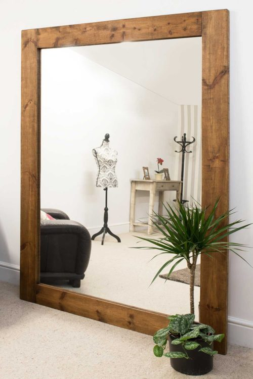 Sandford 213x152cm Dark Natural Wood Extra Large Leaner Wood Mirror