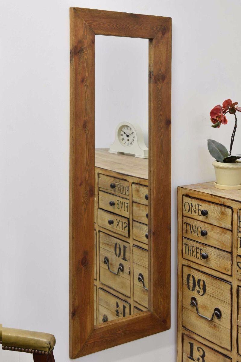 Sandford 142x51cm Dark Natural Wood Large Full Length Wood Mirror