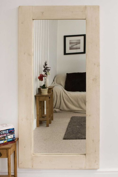 Sandford 183x91cm Light Natural Wood Extra Large Full Length Wood Mirror