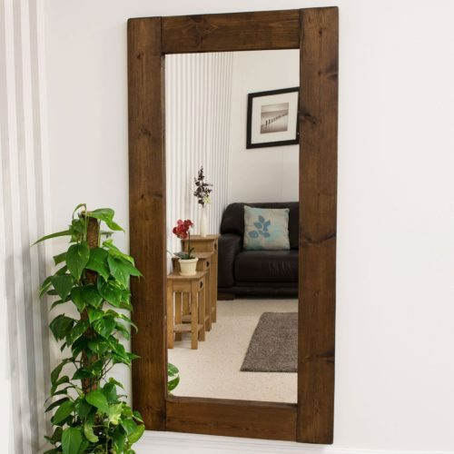 Sandford 179x87cm Dark Natural Wood Extra Large Full Length Wood Mirror