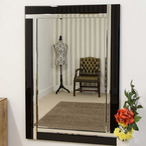 Clevedon 100x70cm Black Wall Mirror