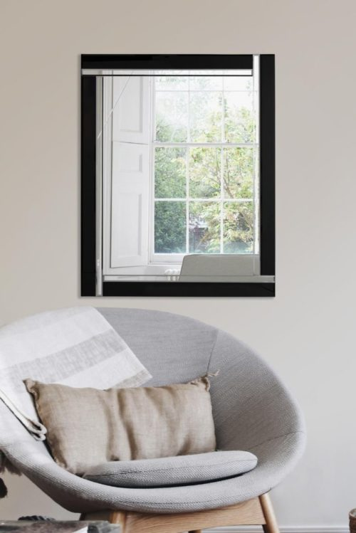 Clevedon 68x56cm Black Wall Mirror